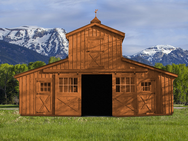 Maryland amish horse barns shed row barns run in sheds for Board and batten shed plans